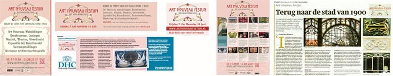 collage van de publiciteitsactiviteiten voor het art nouveau festijn